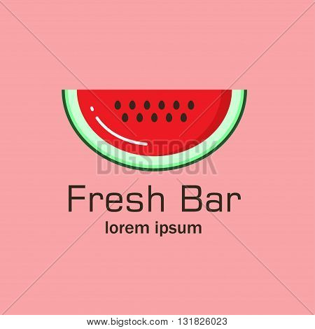 Flat logo with the image of a piece of watermelon. It can be used for fresh juice bar, fruit shop