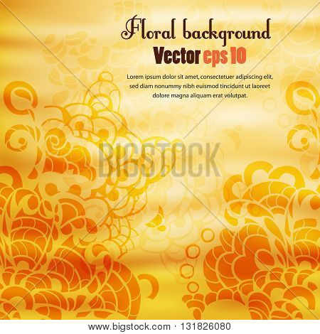 Orange background with floral ornament. The illustration contains transparency and effects. EPS10