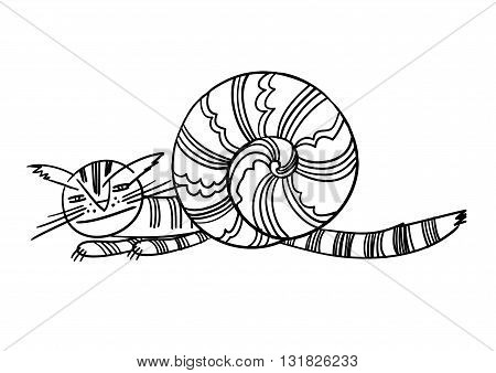 Vector illustration with the image of a fantastic animal funny