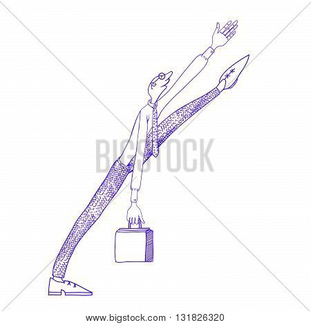 Clerk with a suitcase walks forward. Original creative vector illustration for web design and Polygraphy