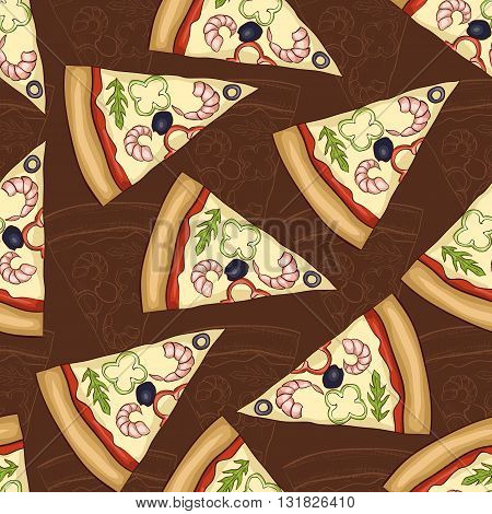 Seamless pattern two types of pizza shrimp. Vector illustration, EPS 10