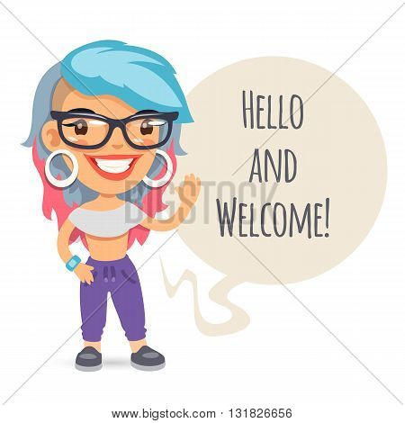 Casually dressed cartoon girl says Hello and welcome. Isolated on white background. Clipping paths included.