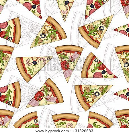 Seamless pattern scetch with four types of pizza. Vector illustration, EPS 10
