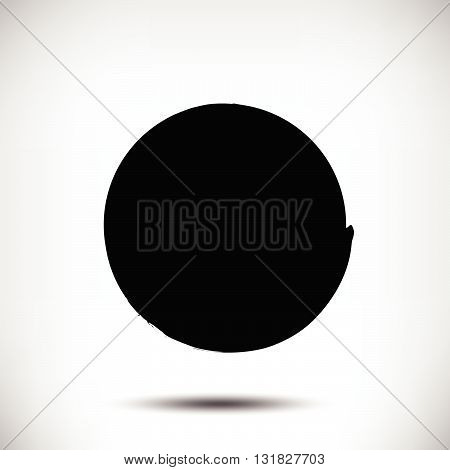 Black vector grunge circle background. Black textured circle. The uneven edges of the circle. Round background