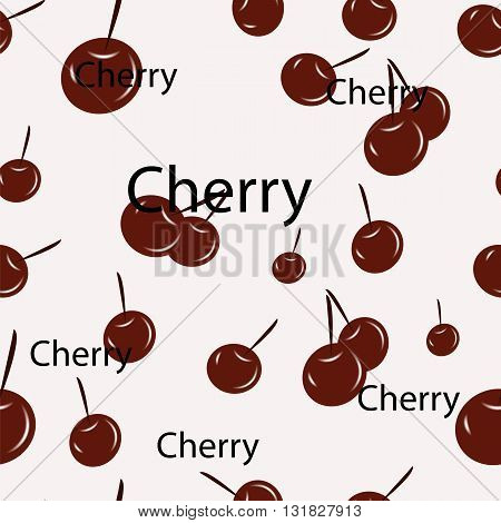 Seamless pattern of ripe cherry vector illustration of berries on a white background