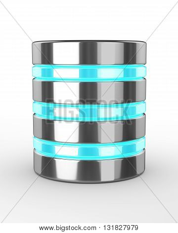 Hard Disk And Database On White Background