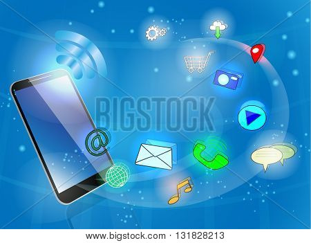 Black smart phone with icons on abstract blue background.