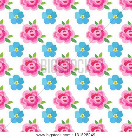 Flowers (stylized roses & forget-me-not) seamless background isolated on white vector illustration