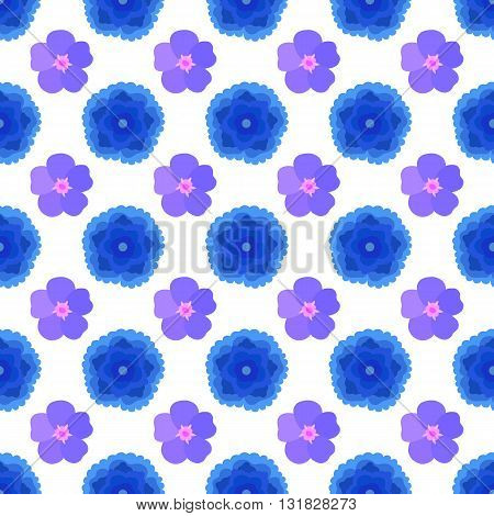 Stylized blue flowers seamless background isolated on white vector illustration
