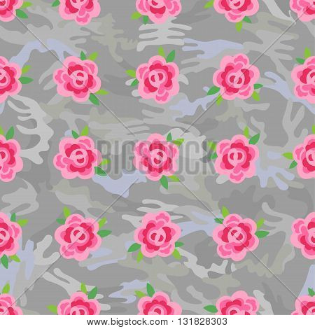 Flowers (stylized roses) seamless background isolated on grey camo vector illustration