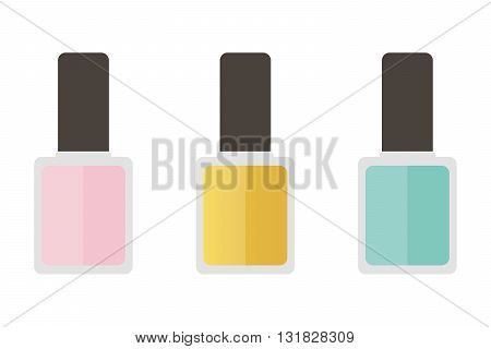 Cute pink, mint green and gold nail lacquer set, collection.