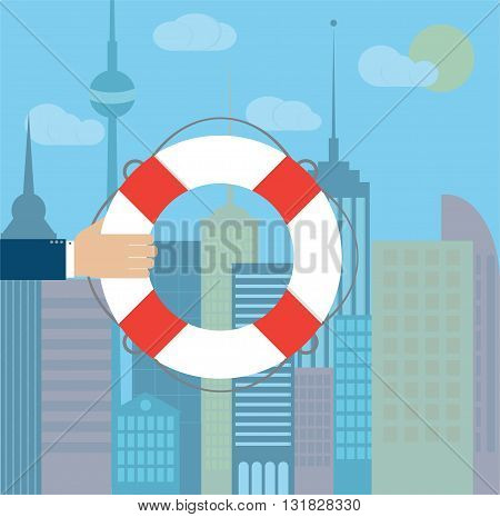 Hand with lifebuoy on a city background. Vector illustration