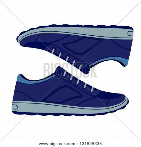 Pair unisex blue suede sneakers shoes side view vector illustration isolated on white background