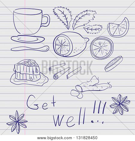 Hand-drawn set of items medicines traditional medicine treatment of the common cold drawn in pen on a piece of a school notebook line. Vector illustration
