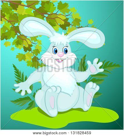 Funny cartoon Bunny sitting on the grass. Vector illustration.