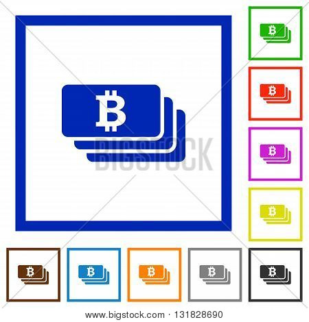 Set of color square framed bitcoin banknotes flat icons