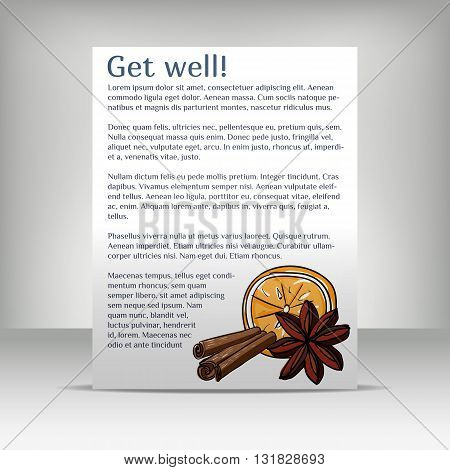Flyer with text and hand-drawn set of colored items medicines traditional medicine treatment of the common cold. Vector illustration