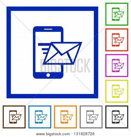 Set of color square framed sending email flat icons