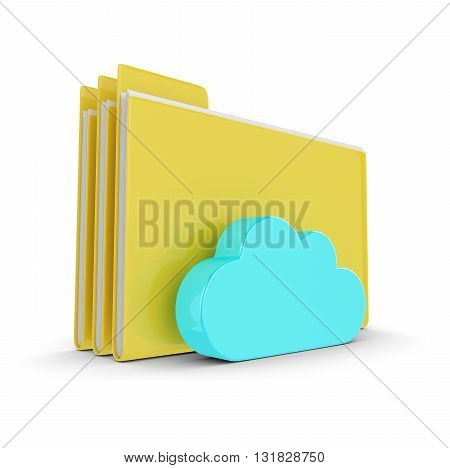3D Folders With Cloud Isolated On White Background