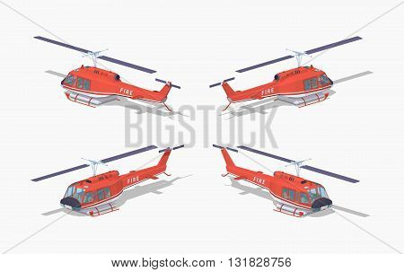 Fire helicopter. 3D lowpoly isometric vector illustration. The set of objects isolated against the white background and shown from different sides