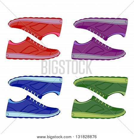 Pair unisex colored suede sneakers shoes side view vector illustration isolated on white background