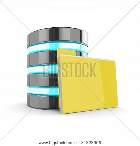 3D Database And Folder With Documents Isolated On White Background