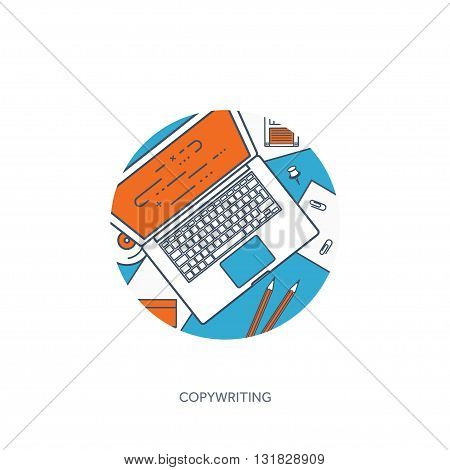 Vector illustration. Flat laptop. Tell your story. Author. Blogging. Message. Lined, outline.