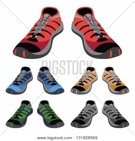 Colored sneakers shoes set front view vector illustration isolated on white background