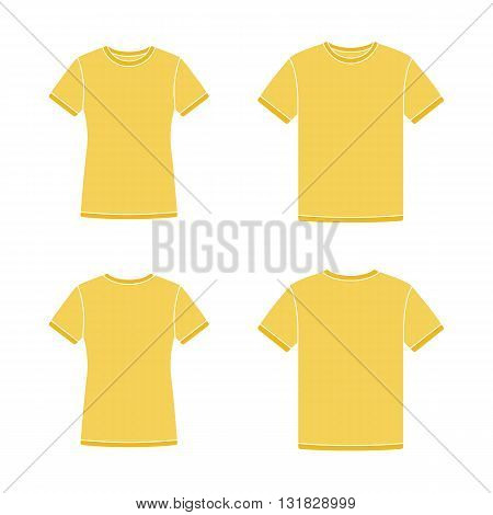 Mens and womens yellow short sleeve t-shirts templates. Front and back views. Vector flat illustrations