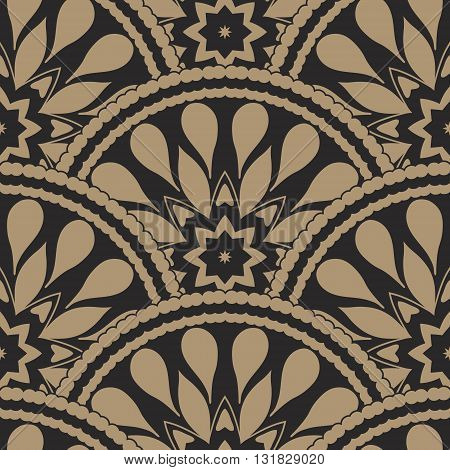 Vector abstract seamless geometrical wavy background from golden and black fan shaped ornate feathers and banners with ethnic patterns. Fish scale order.Batik painting. Oriental textile print.Art deco