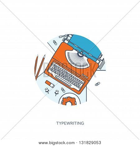 Vector illustration. Flat typewriter. Tell your story. Author. Blogging.Lined, outline.