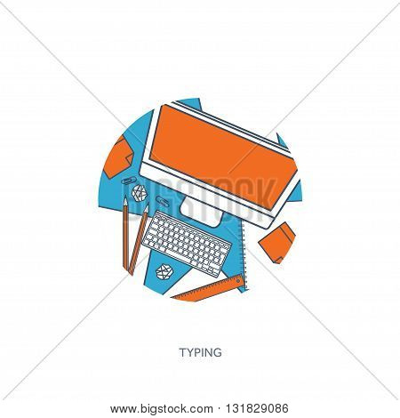 Vector illustration. Flat laptop. Tell your story. Author. Blogging. Message.Lined, outline.