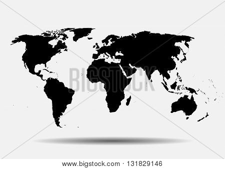 Black vector map. World map blank. World map template.World card on a gray background. Vector illustration.