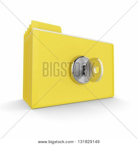 3D Folders With Lock Isolated On White Background