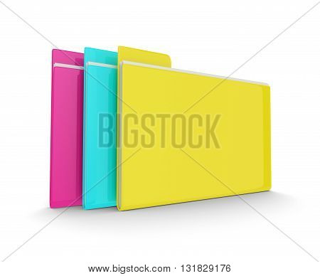 3D Colorful Folders Isolated Over White