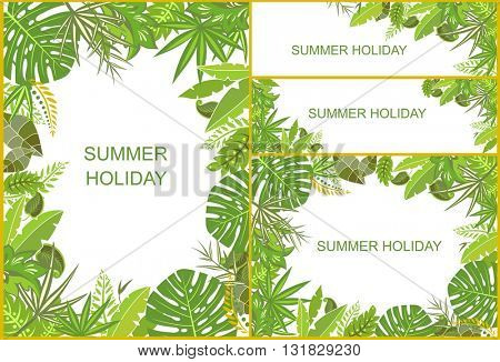 Set of tropical green backgrounds