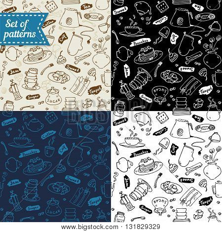 Tea party kitchen tools seamless patterns set vector sketch trendy colors