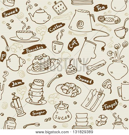 Tea party kitchen tools seamless pattern vector sketch vintage color