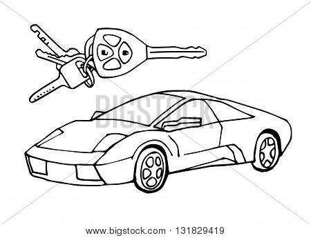 Hand drawn sketch Italian car with car keys vector design concept illustration