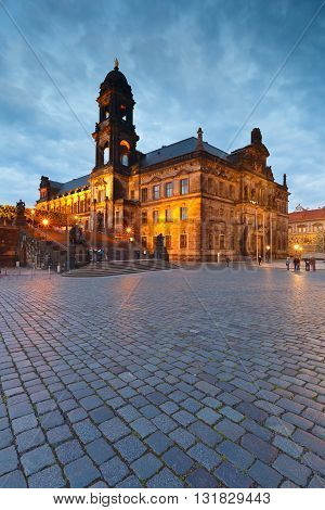 View of the higher regional court in the old town of Dresden, Germany.