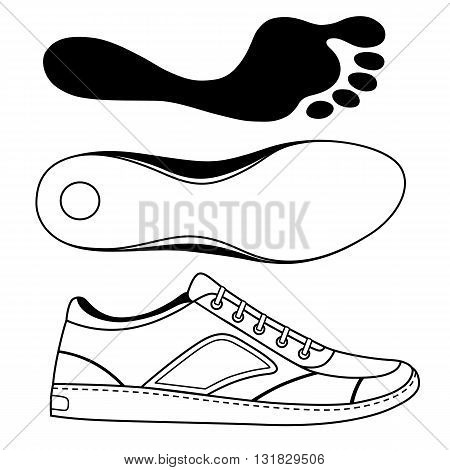Black outlined sneakers shoe & sole vector illustration isolated on white background