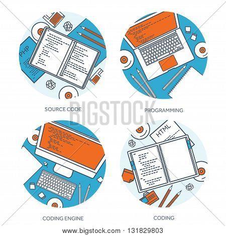Programming, coding. Flat lined, outline computing background. Code, hardware, software. Web development. Search engine optimization. Innovation, technologies. Mobile app. Vector illustration. SEO.