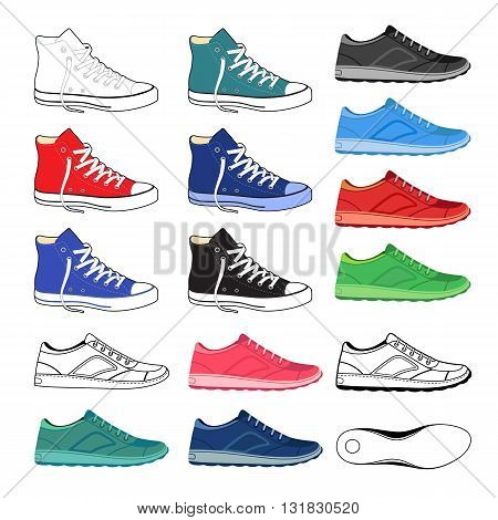 Black outlined & colored sneakers shoes set side view vector illustration isolated on white background