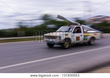 pick-up Speeding in road , Thailand asia