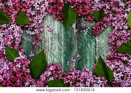 Lilac Flowers On Wooden Board