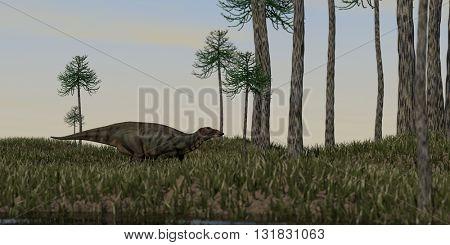 3d illustration of the shuangmiaosaurus walking on grass terrain