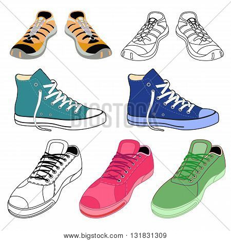 Black outlined & colored sneakers shoes set front view vector illustration isolated on white background