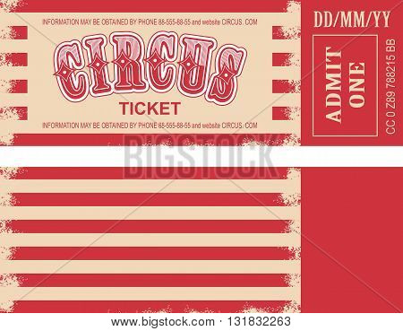 vector illustration of the tickets for the circus and the two sides of the tear