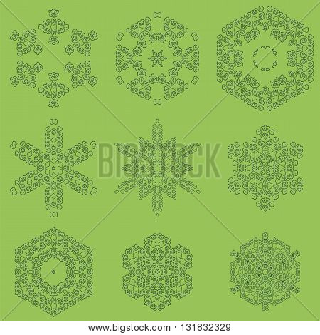 Round Geometric Ornaments Set Isolated on Green Background