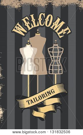 vector illustration retro poster advertising couture mannequins